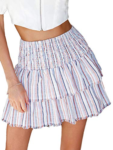 Floerns Women's Striped High Waist Layered Ruffle Hem Mini Skirt White L