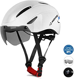 MOKFIRE Adult Bike Helmet, Bicycle Helmet with Removable Magnetic Goggles Visor, CPSC & CE.EN1078 Certification Adjustable Mountain & Road Cycling Helmet for Adult Men/Women Size 22.44-24.01 Inches