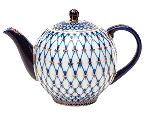 Lomonossow Porzellan 10Tassen große Teekanne 68oz/2000ml Kobalt Netz