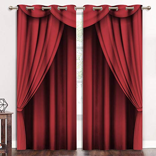 KGORGE Curtains 84 in Length, Stage Curtains Backdrop Party Decor Window Treatments for Home Theater/Movie Room/Living Room, Print Curtains Grommet Top Room Darkening Soundproof, 2 Panels, Red