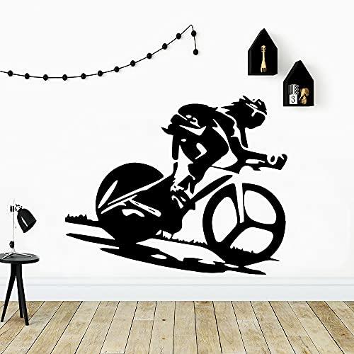 Pegatinas de pared de bicicletas deportivas personalizadas papel tapiz artístico autoadhesivo mural de decoración de la pared de la habitación de los niños -42x52cm