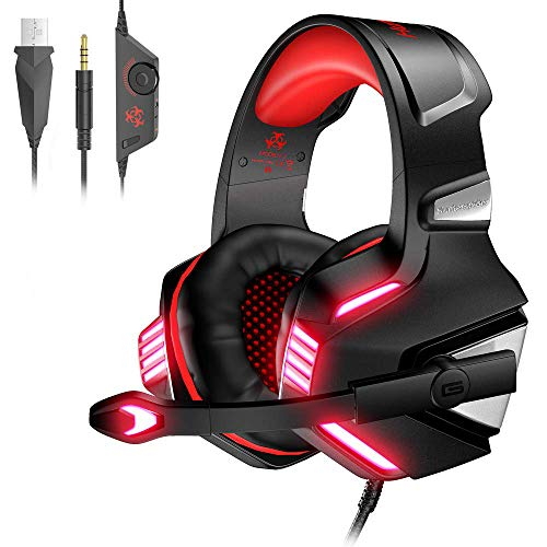 VersionTech Casque Gaming pour PS4 PC Xbox One, Casque Gamer Audio Anti-Bruit Filaire avec Micro et LED pour Nintendo Switch, Macbook, Ordinateur Portable - Rouge