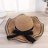 PINPINGMY Sombrero para el Sol Sombrero de Paja de Verano Mujeres Ancha Brim Beach Sun Sombreros Santa Jazz Sombrilla Panamá Fedora Gángster Hat Cap 2021 (Color : Khaki, Size : One Size)