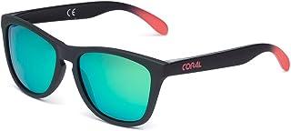 CORAL Sunglasses - ARRECIFE - Gafas de sol negras y lentes espejo revo verdes polarizadas. Acabado mate engomado.