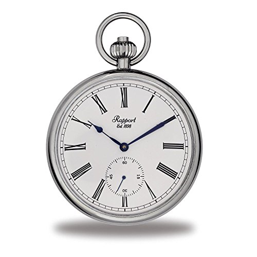 Vintage Pocket Watch with Chain by Rapport - Classic Oxford Open Face Pocket Watch with Sub-Seconds - Silver