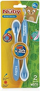 Nuby Hot Safe Spoons 2 Pack, Teal, 2 Count