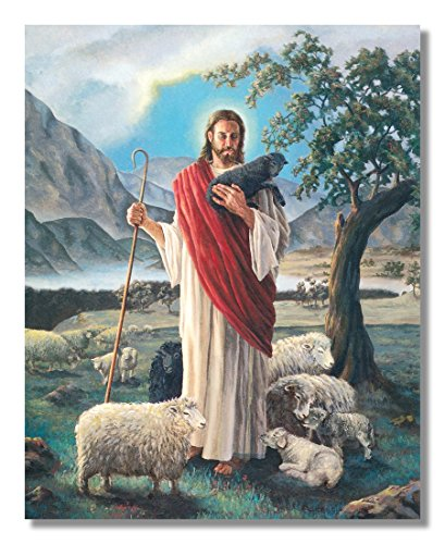 Jesus Christ Shepherd with Lambs Religious Wall Picture 8x10 Art Print