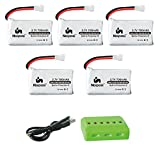 Noiposi 3.7v 700mah 25c Lipo Battery 5 PCS with X6 Charger for X708 X708W UFO 3000 Halo 3000 Halo Quadcopter Drone JJRC H42 U45 U45W Blue Jay Syma X5 X5c X5C-1 X5SW X5SC JXD UFO 398 Haktoys HAK905