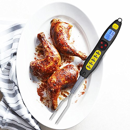 Barbecue Fork Thermometer, BASA Digital Meat Thermometer Instant Read Cooking Thermometer Fork with Backlit, Long Forks, LED Light for Cooking BBQ Grilling -Black