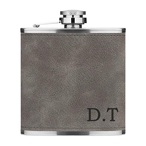 Personalised 6oz PU Leather Hip Flask Grey Custom Initials...