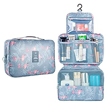 Hanging Travel Toiletry Bag Blibly Makeup Cosmetic Organizer Bag for Woman and Girls Bathroom and Shower Organizer Bag Waterproof  10.6x7.3x3.3 inch Light Blue Flamingo