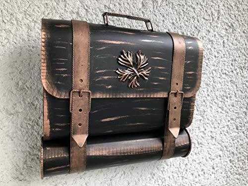 Wandbriefkasten Tasche Briefkasten mit Zeitungsrole Zeitungsfach aus rostfreiem Stahl verzinkt. Befestigungsmaterial GRATIS!