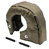 LEDAUT T6 Titanium Turbo Cover Blanket Turbocharger Heat Shield Cover Wrap Fit For T5 T6 Turbo With Fastener Springs