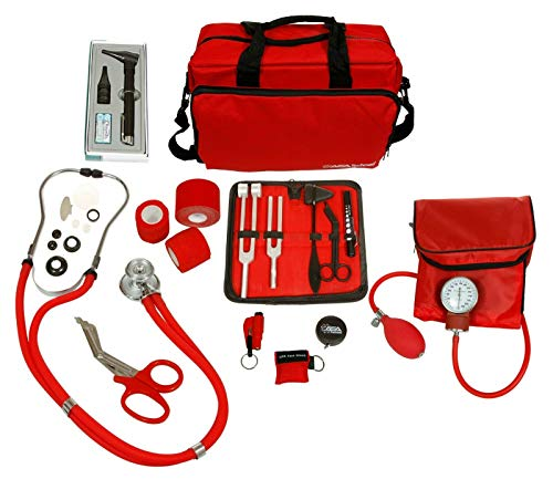 ASATechmed Nurse Starter Kit - Stethoscope, Blood Pressure Monitor, Tuning Forks, and More - 18 Pieces Total (Red)