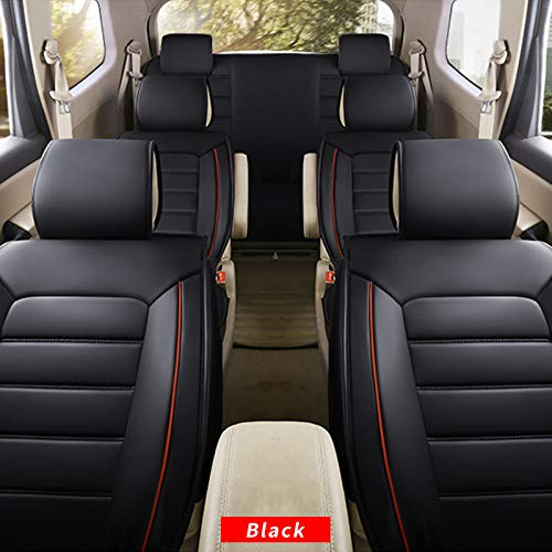 All Weather Custom Car Seat Covers for Seat Most Car Models 7-Seat Full Protection Waterproof Ultra Comfort Black red Full Set