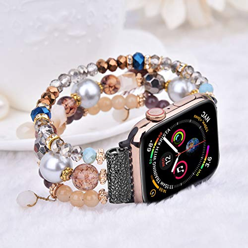 CAGOS Bracelet Beadeds Compatible with Apple Watch Band 44mm/42mm Women Girl,Cute Handmade Fashion Elastic Beaded Strap Compatible for Apple iWat   ch Series 5/4/3/2/1 (Brown, 42mm)