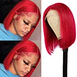 Red Human Hair Bob Wigs Lace Front Pre Plucked Hairline Deep Parting Colored Real Remy Hair Lace Frontal Wigs Straight Short Brazilian Virgin Human Hair Bob Wig 180% Density Thicken Full Ends 10 Inch