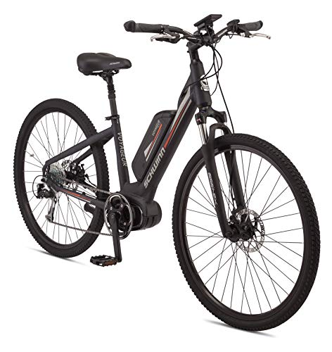 Schwinn Voyageur Electric Bike, Mid-Drive, Medium Step-Through Frame, Dark Blue