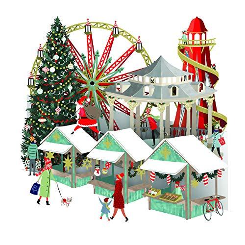 Paper D'Art Weihnachtskarte Christmas Village, 3D-Pop-Up, mit großem Beschriftungsschild