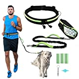 Hands Free Dog Leash, Caudblor Running Leash for Medium/Large Dogs with Phone Pouch, Green Waist Leash with Bungee, Adjustable Dog Walking Belt for Jogging/Hiking, with 3PC Poop Bag, 1PC Dog Whistle