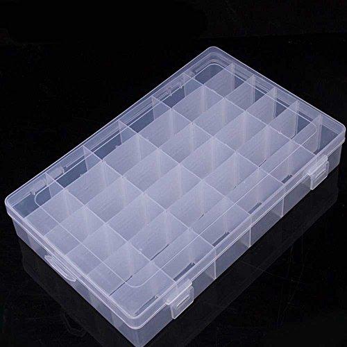 Allright 36 Raster Plastik Aufbewahrungsbox Schmuckschatulle Werkzeugcontainer Transparent Trennwände variabel 28x 18 x 4.5 cm