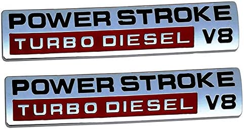 Black red Replacement for F250 F350 F450 1Pc Power Stroke Turbo Diesel V8 Fender Emblems