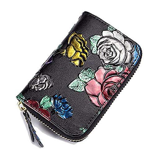 HLBag Women Credit Card Holder Organizer Genuine Leather Wallet Small RFID Blocking Coin Purse (Gold + Silver + Red Rose)