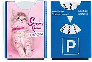 Fun leuk motief parkeerschijf met ijskrabber en rubberen lip schattige kat katje Shopping Queen on Tour