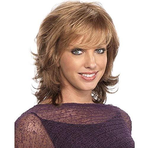 Marrón mixto dorado claro Pelucas cortas sintéticas con flequillo Para mujeres Cabello natural Señoras Peluca completa Fibra resistente al calor femenina