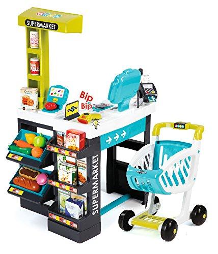 Smoby 350206 - Supermarkt mit Einkaufswagen, türkis/grün