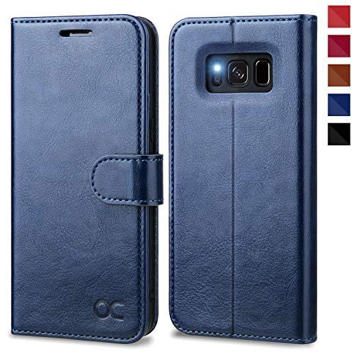 OCASE Samsung Galaxy S8 Hülle, Handyhülle Samsung Galaxy S8 [Premium Leder] [Standfunktion] [Kartenfach] [Magnetverschluss] Schlanke Leder Brieftasche für Samsung Galaxy S8 (5,8 Zoll) (Blau)