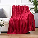Battilo Soft Knitted Dual Cable Throw Blanket 50' 60' (Red)