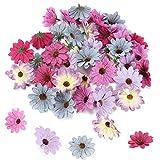 XHXSTORE 50 Stück Künstliche Blumenköpfe Seide Gänseblümchen Blütenköpfe Kunstblumen zum basteln Künstliche Blumen Köpfe Seidenblumen für DIY Scrapbook Hausgarten Hochzeit Dekoration