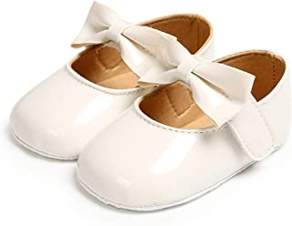 BENHERO Baby Girls Mary Jane Flats with Bowknot Soft Sole Non-Slip Toddler Infant First Walker Princess Dress Shoes (11cm, 0-6 Months Infant, I-White
