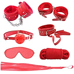 Bondage set with handcuffs, whip, rope etc. in red color. Bondage sex toys for beginners.