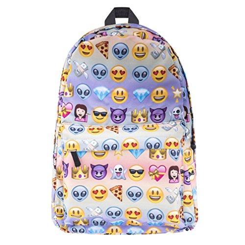Kfnire Mochilas Tipo Casual Mochila Infantil Backpack Mochilas Escolares Fashion Mochilas de Marcha para Chicas, 3D impresión Unicornio (Emoji)