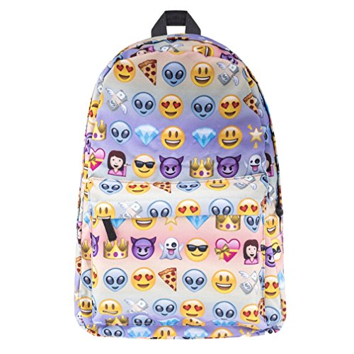 3D Print Backpack, Kfnire Cartoon Multi Color Rainbow Backpack, School College Bag for Teens Students (Emoji)