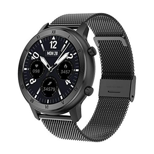 LZXMXR Reloj inteligente, hombres y mujeres IP68 impermeable 1.2 pulgadas reloj inteligente pulsera, monitoreo del sueño reloj inteligente deportivo (color acero negro)