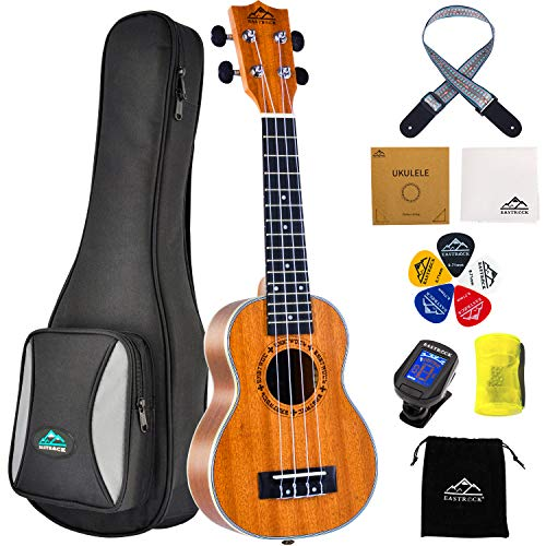 EastRock Mahagoni Ukulele Anfänger 21 Zoll Massivholz Ukulele Kleine hawaiianische Gitarren Ukulelen für Kinder Anfänger Erwachsene mit Tasche (21 Zoll, Mahagoni)