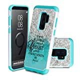 Galaxy S9+ Plus Case,SKYFREE Dual Layer Hybrid Shockproof Armor Defender Heavy Duty Bumper Full-Body Protective Case Cover for Samsung Galaxy S9 Plus (2018)- Quotes Philippians 4:13 Bible Scripture