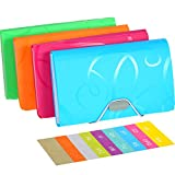 4 Pieces A6 6.85 x 4.25 x 1.1 Inch Expanding File Folder 13 Pocket File Organizer with Labels and Bungee Closure Mini PP Wallet Organizer for Receipts, Checks, Cards, Tax Item