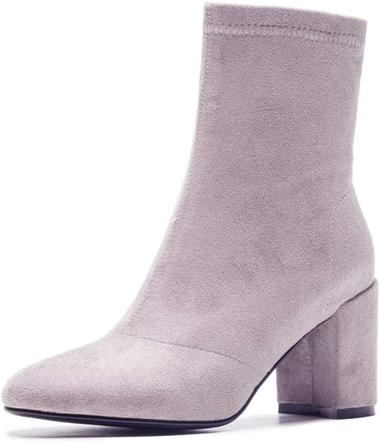 Nine Seven Women's Suede Leather Round Toe Chunky Mid Heel Handmade Casual Easy Side Zipper Walking Dress Mid Calf Boots