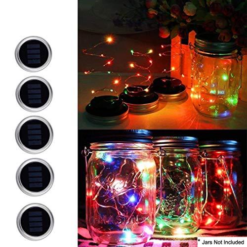 Couvercle de bocal de conserves avec guirlande lumineuse solaire de 10 LED pour allée de jardin ou terrasse Lumière décorative pour fête ou mariage (Bocaux et poignées non inclus)