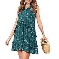 onlypuff Ruffle Polka Dot Dresses for Women Swing Tunic Tops Casual Loose Fitting V Neck Sleeveless & Half Sleeve