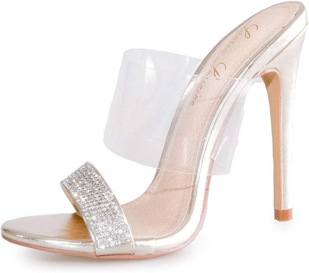 Lauren Lorraine Les Black Transparent Cuff Dazzling Lower Band Heeled Sandals