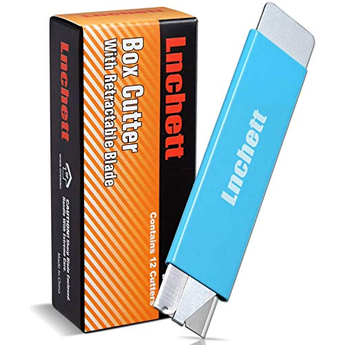 Lnchett Box Cutter, 12 Piece Retractable Cardboard Cutter for Packages, Boxes and Paper