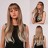 Peluca Ombre Marrón a Dorado encantadora, peluca larga para mujer, peluca sintética rizada natural resistente al calor, adecuada para mujeres blancas(con flequillo)- 24 pulgadas