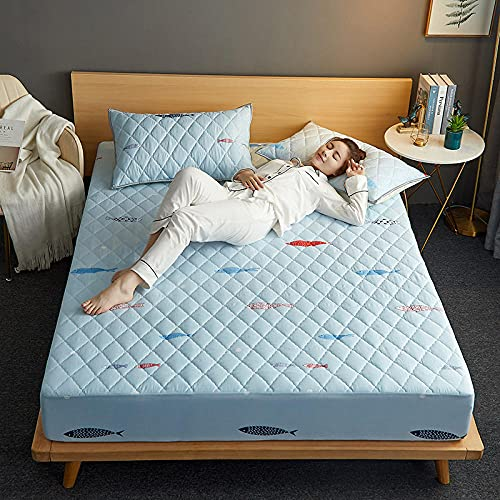 YFGY Sábana Bajera Solo Azul Cielo, Funda de colchón de Cama Impermeable Juegos de Fundas de Almohada con sábanas Ajustadas con Colcha Infantil 120cmx200cm