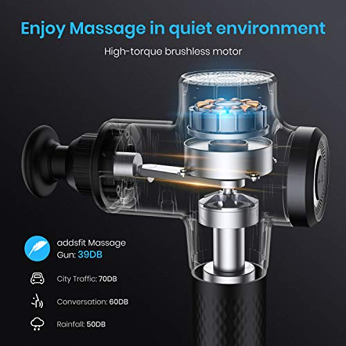 addsfit Massage Gun Deep Tissue, Quiet Professional Muscle Percussion Massager, 9 Speeds, 5 Heads, for Fitness Recovery, Trigger Point Massage, Athletes to Enhance Performance