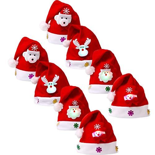 8 Piezas de Sombrero de Navidad Gorra de Terciopelo de LED Luz Sombrero de Patrón de Papá Noel Reno Monigote de...